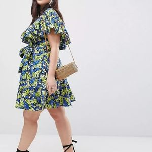 Asos Floral Ruffle Dress in Size 20